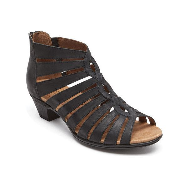Women's Rockport Cobb Hill Abbott Gladiator Sandal ($120) ❤ liked on Polyvore featuring shoes, sandals, black, cage shoes, casual, greek leather sandals, black sandals, strap sandals, strappy sandals and black leather sandals