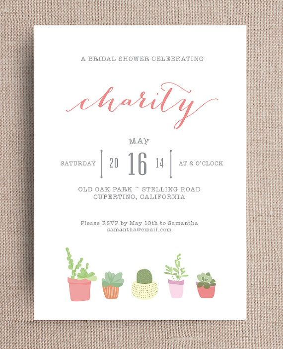 159 best invitation station images on pinterest kid parties succulent bridal shower invitation by joliejoliedesign stopboris Image collections