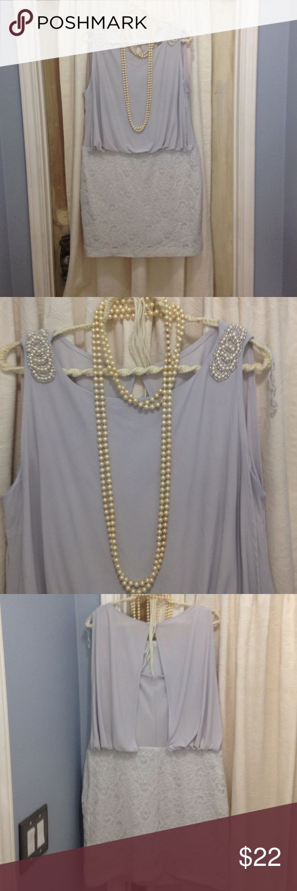 Lacey Scarlett Dress Size 16 Soft light gray dress lace design over polyester. Pearl stitching with silver beading design on each shoulder. Side zipper, one button closure on the collar in back with draping. Great for the holiday parties! Scarlett Dresses Midi