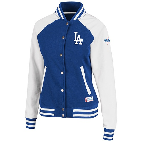Los Angeles Dodgers Womens Pumped Up Varsity Jacket by Majestic Athletic - MLB.com Shop