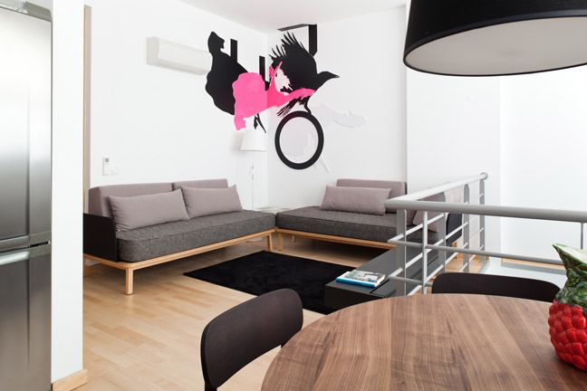 The Lisbonaire Apartments, available for holiday rental in Lisbon. Detail of apartment designed by Ana Cunha. Furniture by Pedrita.