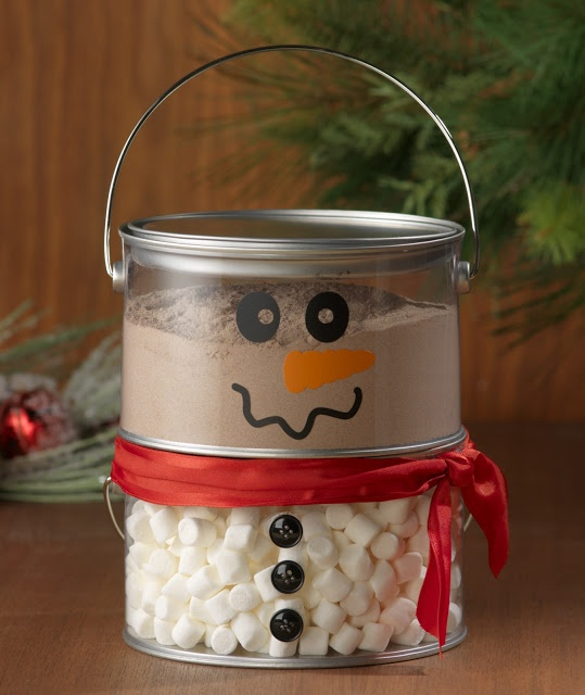 Hot Cocoa Snowman - Craft Warehouse Blog. Could even do another level, have the middle be white cocoa, and the top be a hat with brown cocoa.