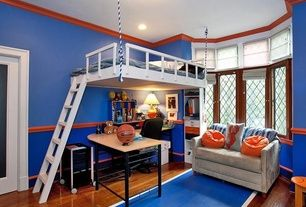 Transitional Kids Bedroom with flush light, High ceiling, Bunk beds, Crown molding, Carpet, Hardwood floors, Chair rail