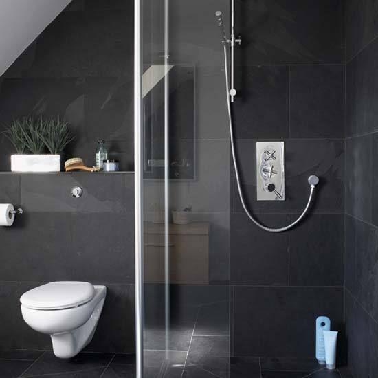 Dark grey navy tiles bathroom ensuite pinterest for Dark gray bathroom
