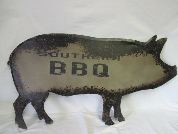 Vintage Pig Restaurant Wall Art Kitchen decor Pig metal collectible display cottage farmhouse sign Giant Southern BBQ