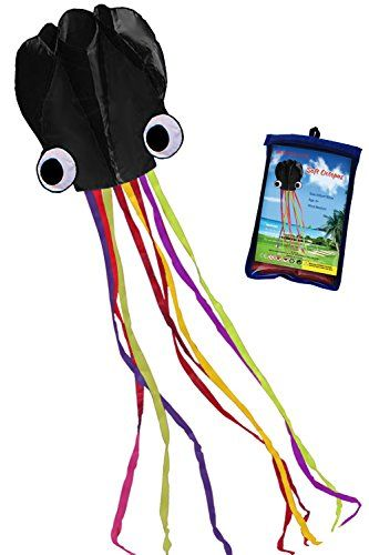 Hengda KiteBeautiful Black Colorful Software Octopus Large Easy Flyer Kite for Kids Its BIG 31 Inches Wide with Long Colorful Tail 157 Inches LongPerfect for Beach or Park by Hengda kite * See this great product by click affiliate link Amazon.com