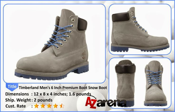 "Timberland Men's 6 Inch Premium Boot Snow Boot |  Boasting a 6"" shaft, hexagonal metal eyelets, a grey nubuck upper, and blue laces and lug outsoles, these work boots will keep your style on point wherever you tread. Work boot Nubuck upper 6"" shaft 1.5"" heel Contrast fully padded leather ankle collar Gusseted tongue Hexagonal metal eyelets Contrast round laces Contrast lug outsole Leather upper, leather and man-made lining, man-made sole Imported By Timberland."