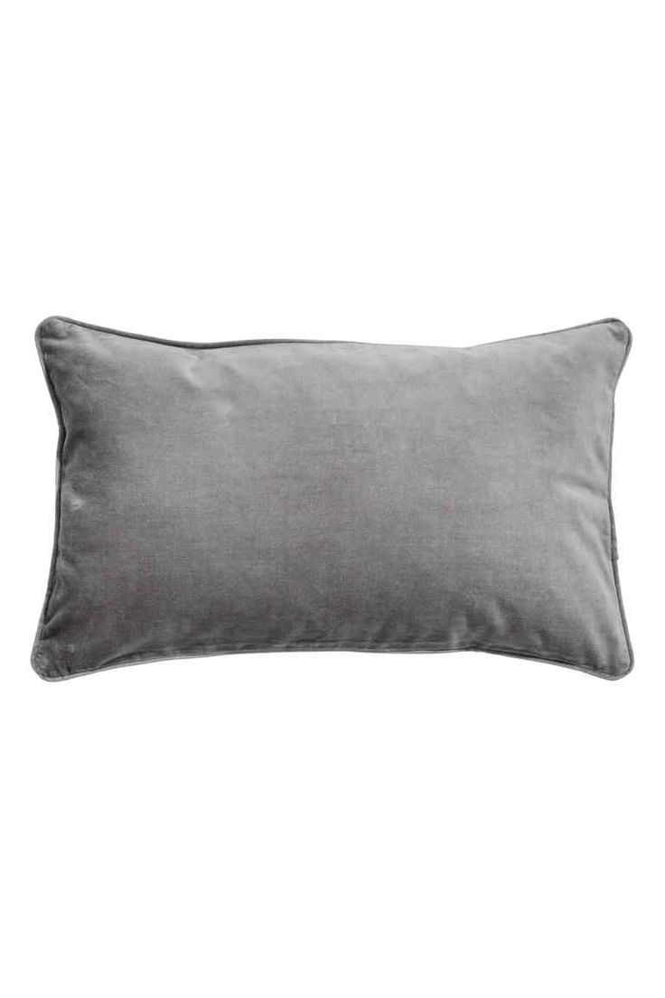 Velvet cushion cover: Cushion cover in cotton velvet with a piped trim and concealed zip.