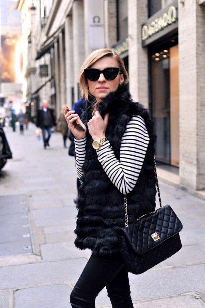 comment porter le veste sans manche femme en fourrure noir, pantalon noir
