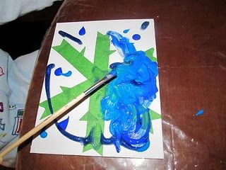 Christmas Winter Craft Kids painting over tape to make snowflake-- great for any time of the year and any design