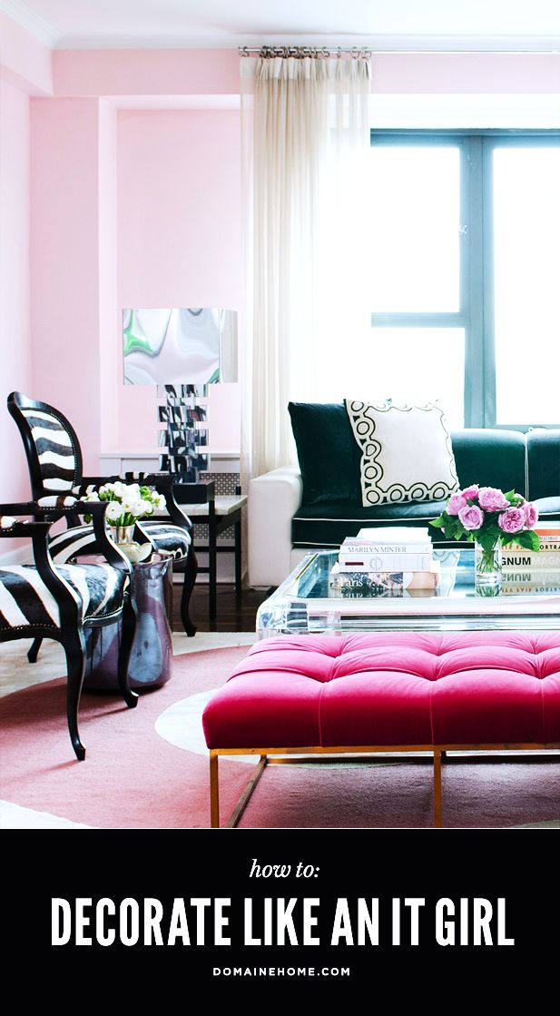 "What you need to give your home an ""It Girl"" look: Color Palat, Black Curtains Living Rooms, Black And Pink Living Rooms, Design Interiors, Apartment Design, Decoration Idea, Rooms For Girls Apartment, Apartment Living Pink, Pink Black"