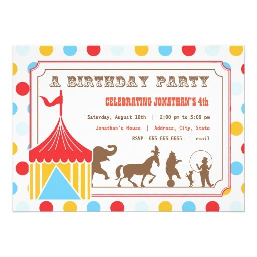 789 best Birthday Party Invitation images on Pinterest - circus party invitation