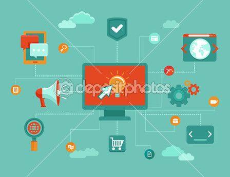 Вектор онлайн бизнес-концепция — Векторная картинка #44143651