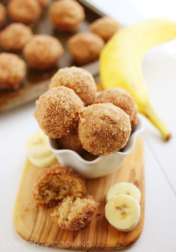baked cinnamon sugar banana donut holes