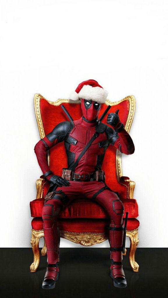 Deadpool Merry Christmas Santa Chair IPhone 5 Wallpaper