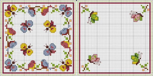 Cross-stitch Butterflies Biscornu Set... no color chart available, just use the pattern chart as your color guide.. or choose your own colors ... Картинка