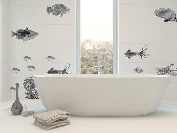 Fish Wall Decals Bathroom Decor Home Decor Black Ink Vintage