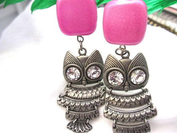 Owl and a Touch of Pink Earrings by fairiebaubles on Etsy, $20.00