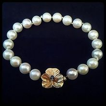 Cultured Pearl & Five Leaf Clover Sapphire & 14K Gold Bracelet AA Graded Circa 1960-1980 http://www.rubylane.com/item/918511-GN293/Cultured-Pearl-Five-Leaf-Clover