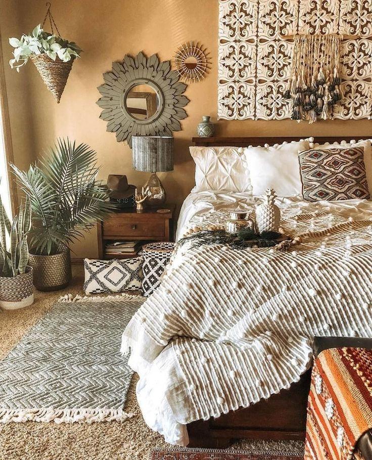 Bohemian Schlafzimmer Dekor und Bettwäsche Design-Ideen, #bedding #bohmi
