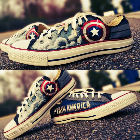 Captain America Hand Painted Converse by EclecticGoodsVa on Etsy