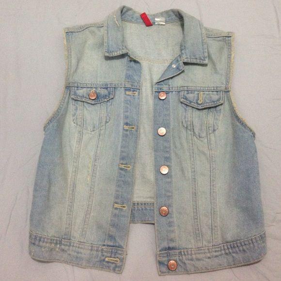 Jeans vest Light wash jeans vest fits like a small top H&M Tops