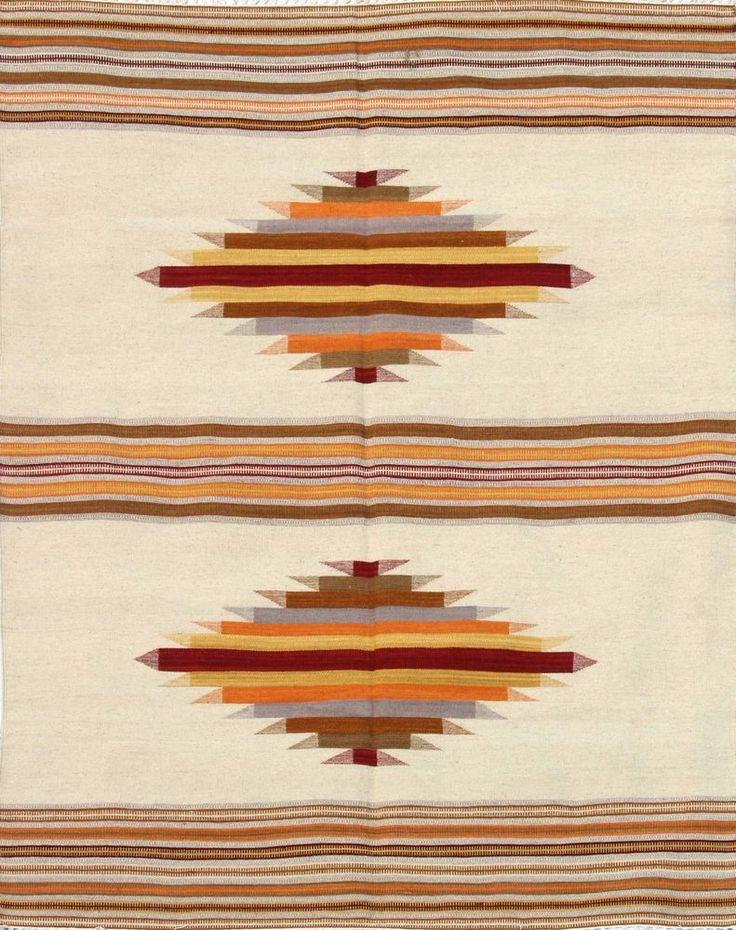5'X8'ft Handwoven Flatweave Woollen Ikat Area Rug Dhurrie Handmade Wool Rug #Handmade #TraditionalEuropean