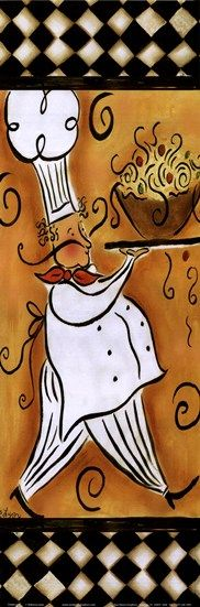 Whimsical Chef II (pasta) by Rebecca Lyon art print: