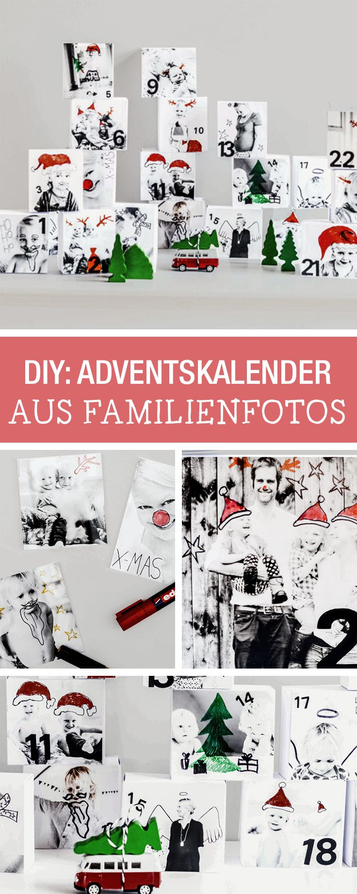 Der persönliche Adventskalender mit Famiienfotos / individual advents calendar made with family photos via DaWanda.com