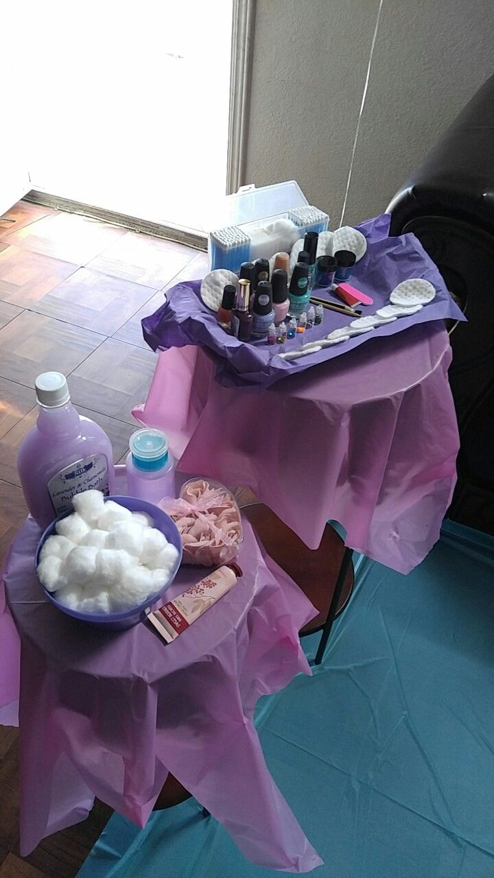 Spa day pedicure supplies