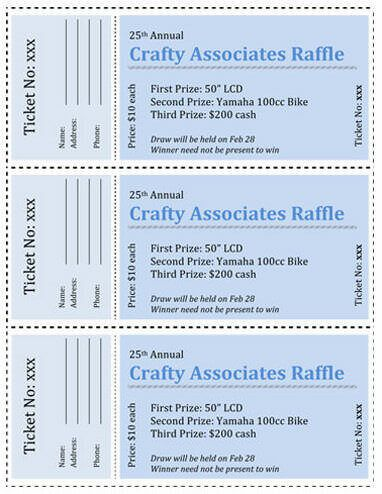 All Business Shades of Blue Raffle Ticket Template