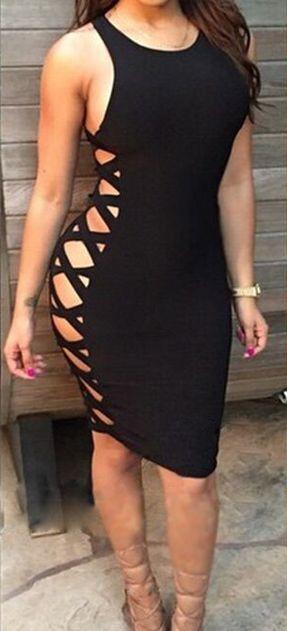 Sexy Bodycon Side Strap Knee-length Club Dress