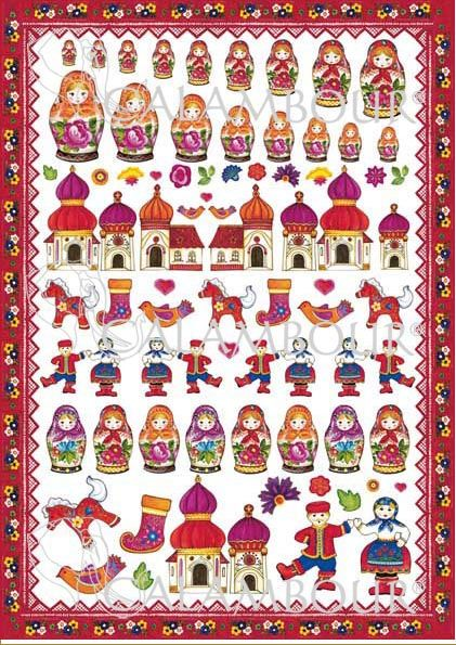 CAL 280 - Calambour Paper for classic Decoupage. Pattern : decorated Russian dolls, colourful flowers with leaves, horses, socks, small birds, small hearts, Russian churches with purple, red or orange roof, red frame with small flowers. Details: measures 50 x 70 cm, printing on 80 gr/mq paper sheet