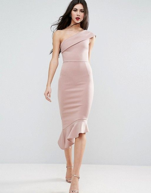 ASOS TALL Scuba One Shoulder Peplum Midi Dress