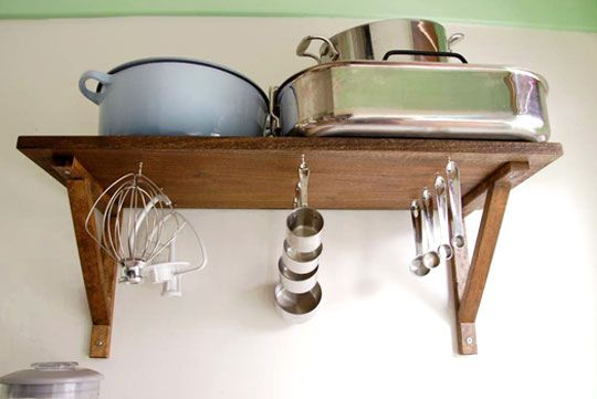 Under-shelf hooks for baking items. Brilliant!Storage Solutions, Fun Recipe, Hanging Kitchens, Hooks, Small Kitchens, Kitchens Accessories, Cooking Tools, Kitchen Accessories, Storage Ideas