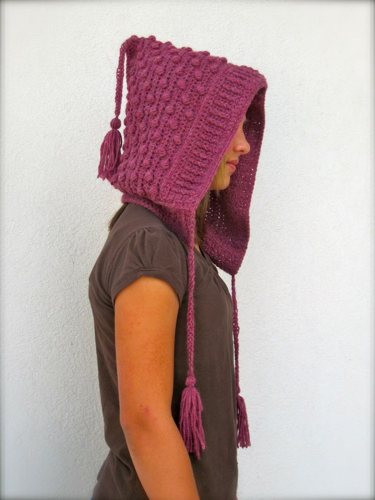 Bobble Hood with Tassels Crochet Pattern