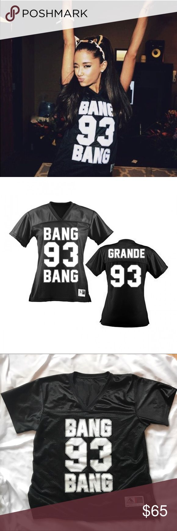Ariana Grande Tour Merch - Bang Bang Jersey Bang Bang Ariana Grande Jersey purchased on the Honeymoon tour. 100% authentic - shirt is real jersey material - style as Ariana is wearing in the first photo. Super cute! Tour exclusive. Never worn. Excellent condition. Top rated seller - fast shipping certified! Ariana Grande Tops Tees - Short Sleeve