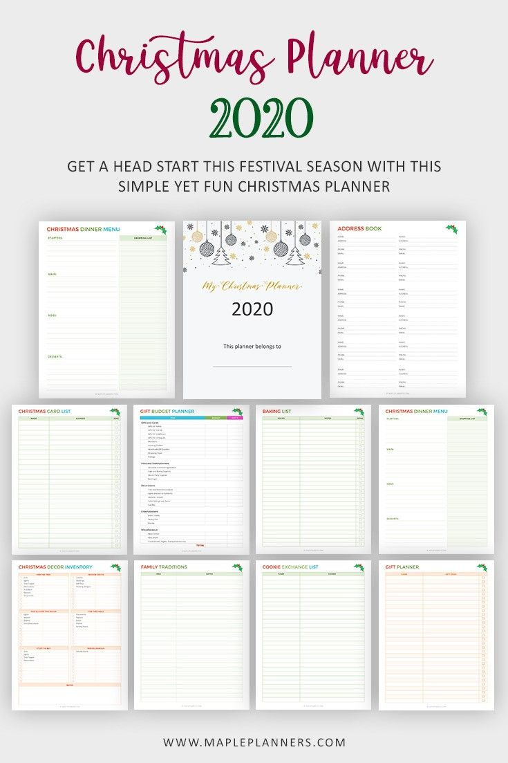 Orgaize Christmas 2020 Free Christmas Planner Printable | Holidays Organizer in 2020