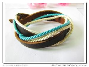 .: Discount Real, Real Leather, Multicolour Cotton, Leather Rope Bracelet, Multicolour Bracelet Ropes, Accessories, 10Off Discount