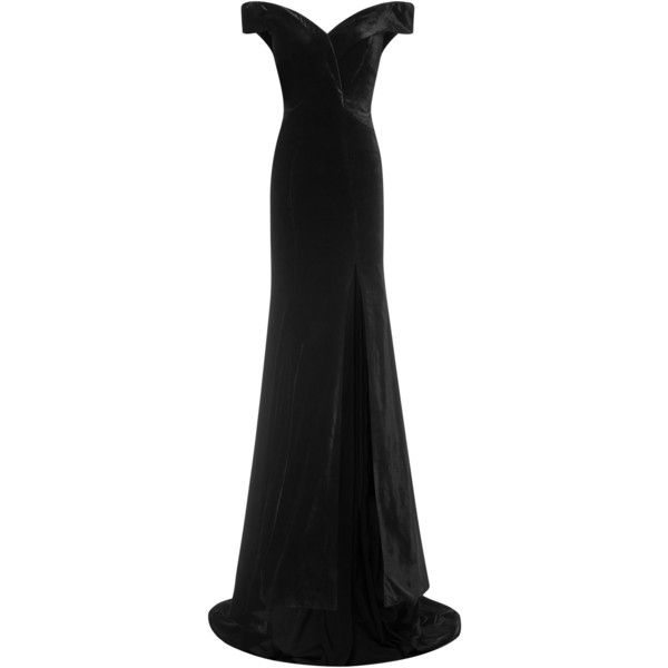 Rachel Gilbert Violetta Gown (35.260 ARS) ❤ liked on Polyvore featuring dresses, gowns, gown, rachel gilbert, black, fitted tops, off shoulder evening dress, off the shoulder evening dress, rachel gilbert dresses and full length dresses