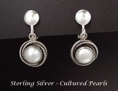 Clip On Earrings Sterling Silver with Cultured Pearls, #cliponearrings #earrings #clipons #silverearrings #jewelry #womensfashion #giftsforwomen #mothersday #mothersdaygifts