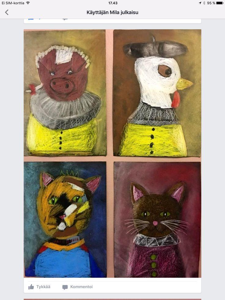Mila Lehtonen /Fb Alakoiuun aarreaitta  Nelosluokan maatilajakson kunniaksi maatilan eläimistä tehtiin muotokuvat barokki-muotokuvien hengessä.