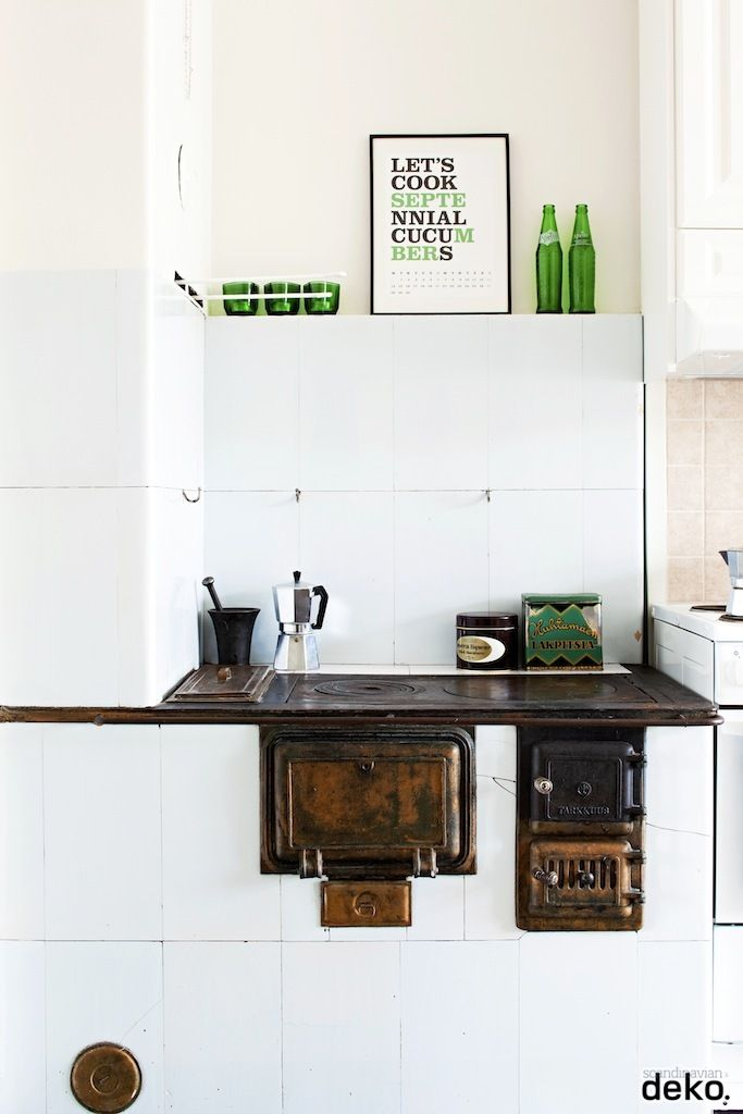 Love the green details with white in the kitchen