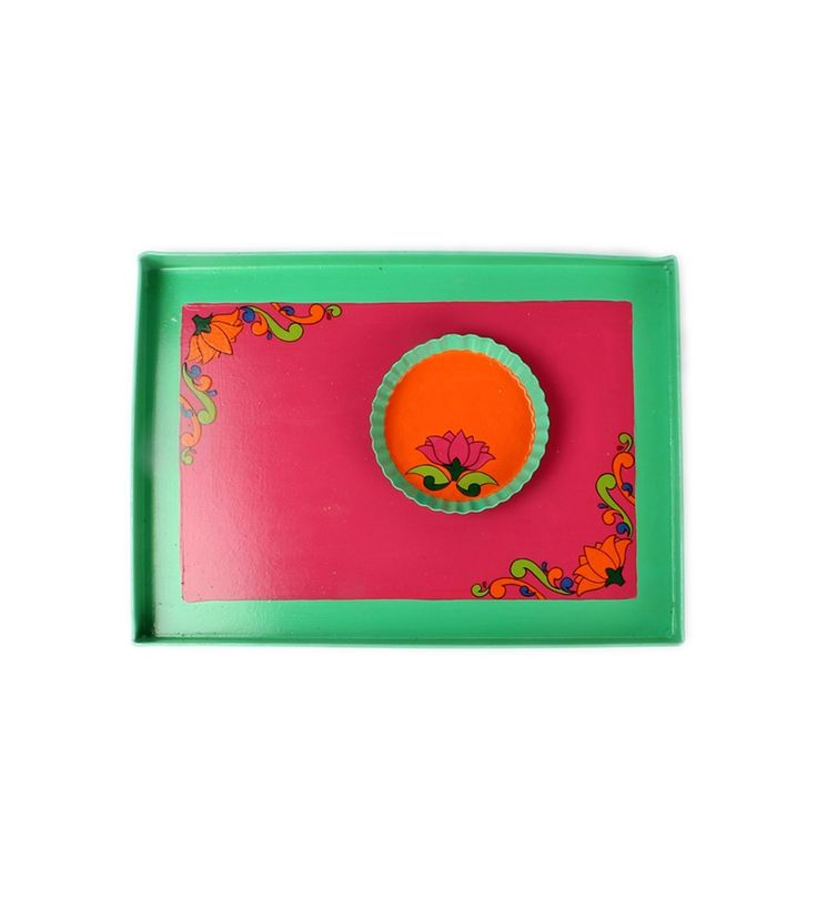 Multicoloured Hand Painted Aluminum Tray With Snacks Plate : Durga Puja #indianroots #homedecor #tray #snackplate #handpainted