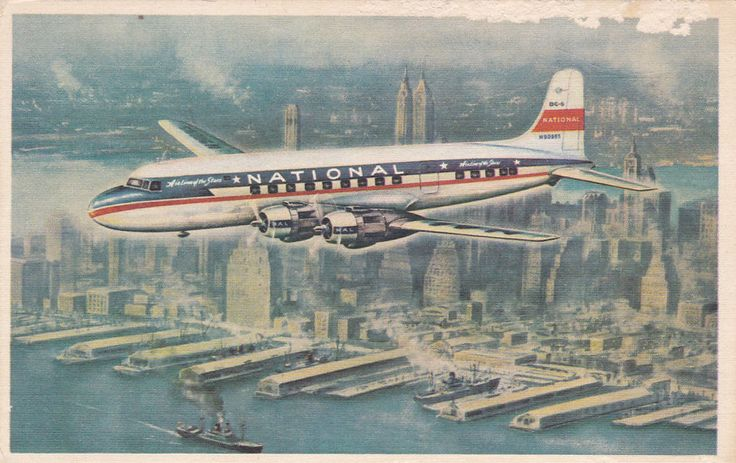 "NATIONAL Airlines ""STAR"" Prop. Airplane Over New York City , 30-40s"