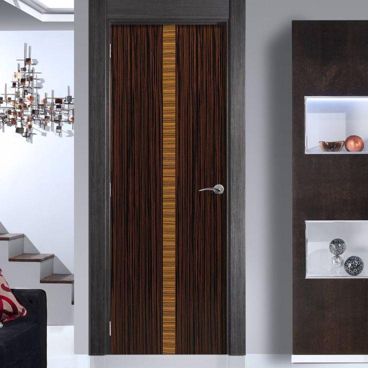 JB Kind Inspiration Azure Ebony Veneered Door with Zebrano Inlay is Pre-Finished. #internaldoor #contemporarydoor #moderndoor