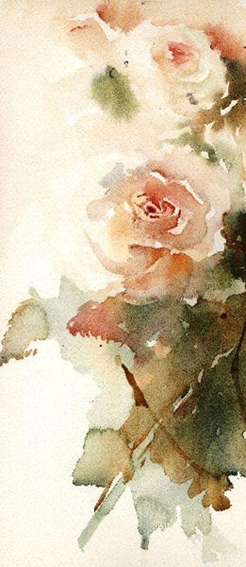 Рисунки цветов акварелью от Jean Haines Beautiful roses in watercolor