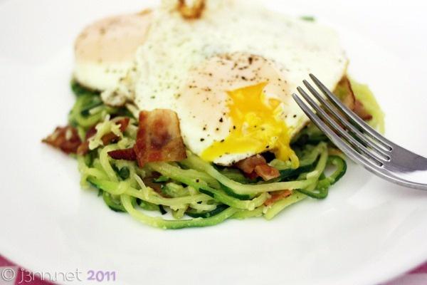 Low-carb Zucchini Spaghetti Carbonara | Recipies to Try - Spiralize ...