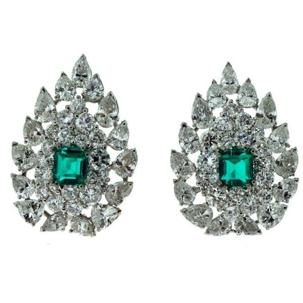 Pre Owned 18k White Gold Colombian Emerald And Diamond Earrings 39 900 Liked On Polyvore Featuring Jewelry