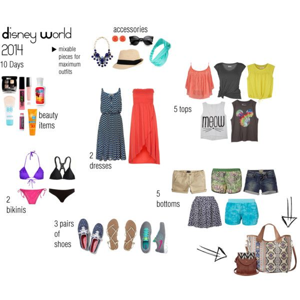 """Disney World 2014 packing list"" by caiticat on Polyvore Road trip to Disney World, stopping at beaches on the way back from Orlando."